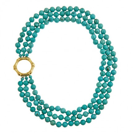 Triple Strand Turquoise w/ Bamboo Clasp