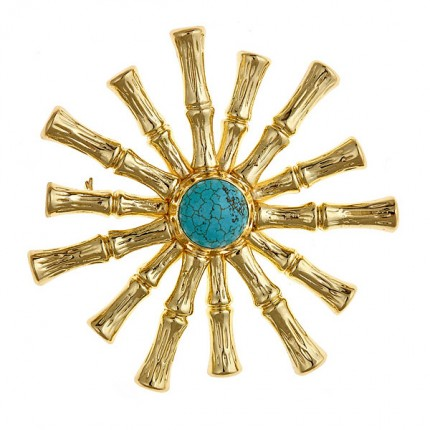 Bamboo Star Broach w/ Turquoise Center