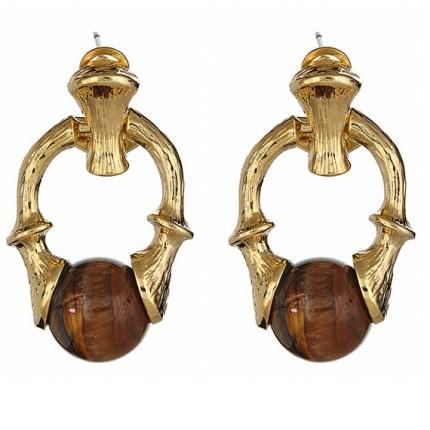 Bamboo Doorknocker Earrings Tiger's Eye