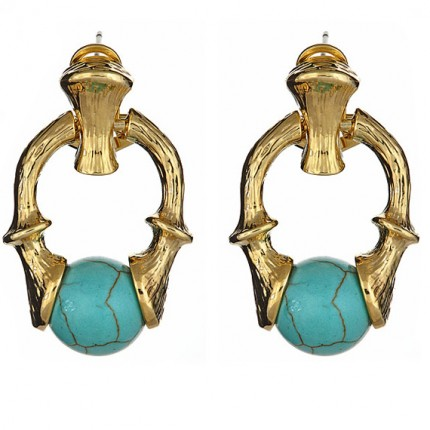 Bamboo Doorknocker Earrings Turquoise