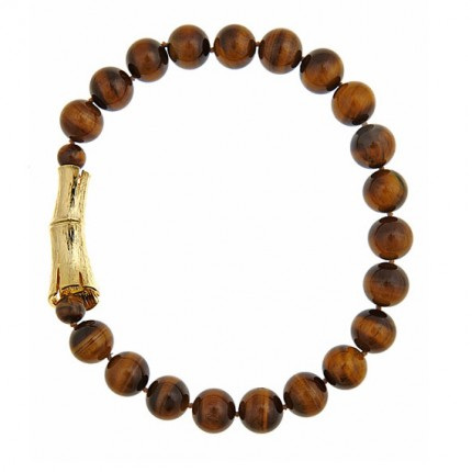 Single Strand Tiger's Eye Bamboo Log Necklace