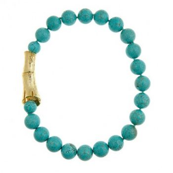 Single Strand Turquoise Bamboo Log Necklace