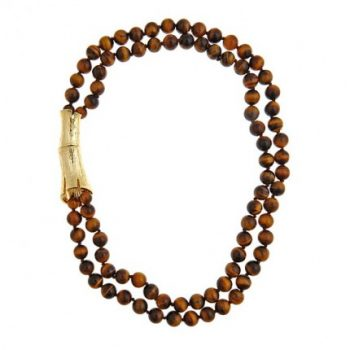 Double Strand Tiger's Eye Bamboo Log Necklace