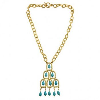 Rope Drop Necklace - Turquoise Stones
