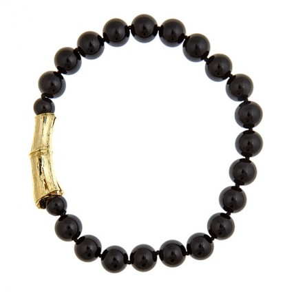 Single Strand Onyx Bamboo Log Necklace