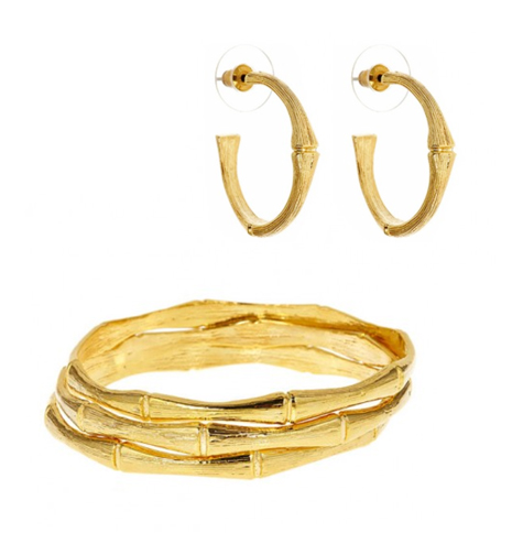 18Kt Gold Plated Bamboo Bangles and Earrings Gift Set