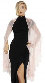 604 SGL Silk georgette stole w lace border cameo pink cropped