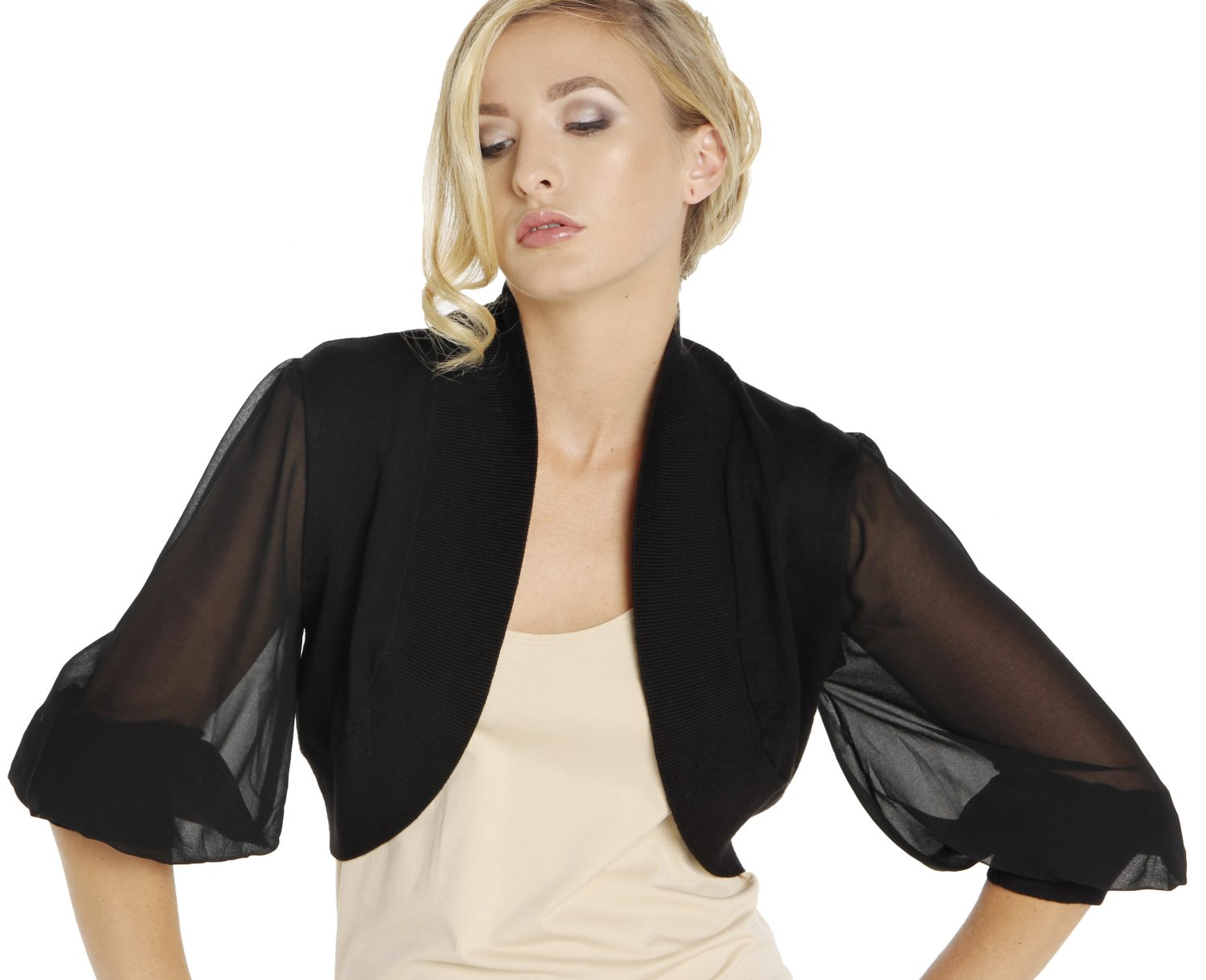 650 SG Knit Bolero with Silk Georgette puff sleeves cropped
