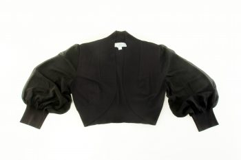 650 SG - Knit bolero w Silk Georgette Bishop Sleeves Black IMG_9478