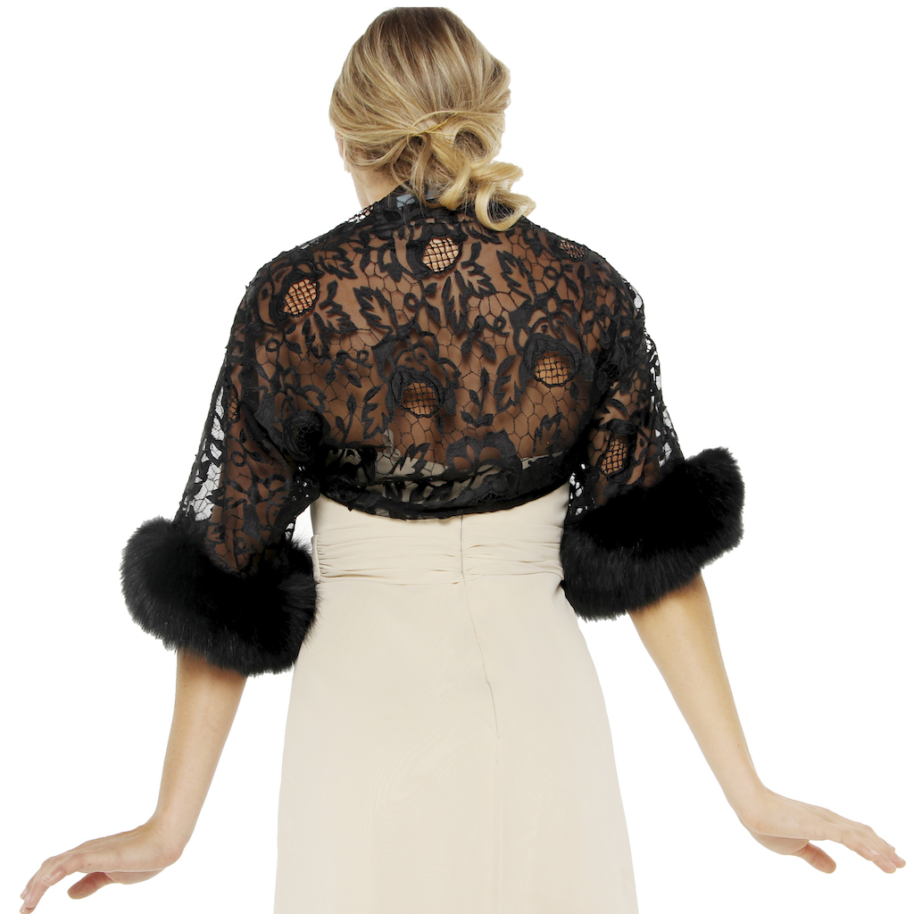 675-015 Applique net tulle w fox cuff back view cropped