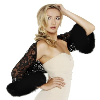 675-015 Applique net tulle w fox cuff shrug cropped