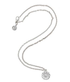 Daisy-pendant-on-16_-chain---Rhodium-plate