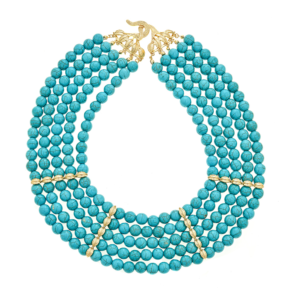 5 strand _Vine_ Turquoise collar with 18k gold plate closure & stations $110