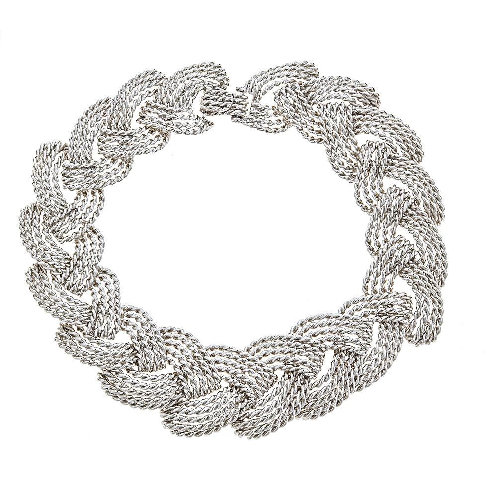 Braid Link necklace White rhodium plate $220. whsl