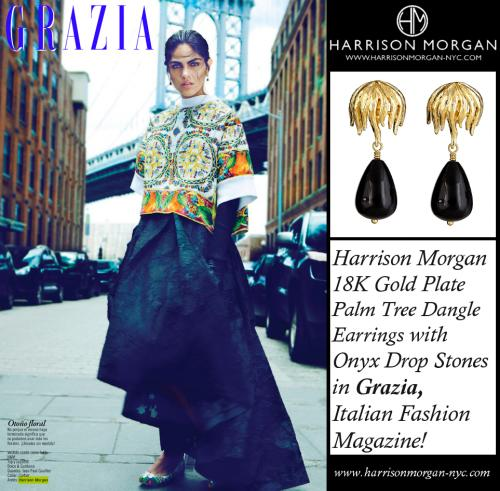 Grazia Sept 2014 Onyx Palm Earrings